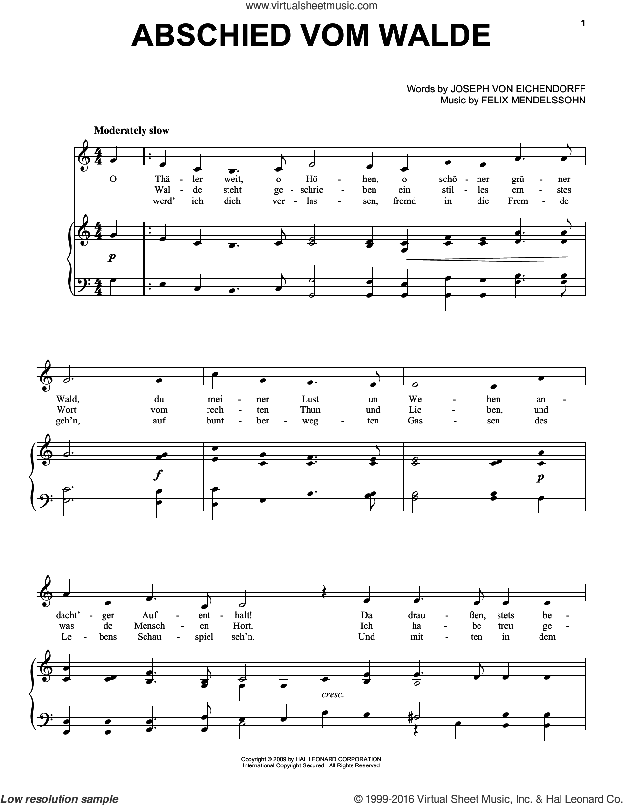 Abschied Vom Walde sheet music for voice, piano or guitar by Felix Mendelssohn-Bartholdy and Joseph von Eichendorff, intermediate skill level