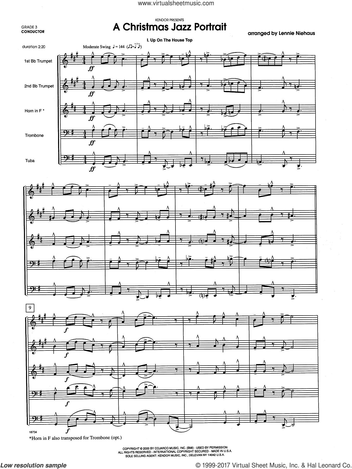 A Christmas Jazz Portrait (COMPLETE) sheet music for brass quintet by Lennie Niehaus, Christmas carol score, intermediate brass quintet. Score Image Preview.