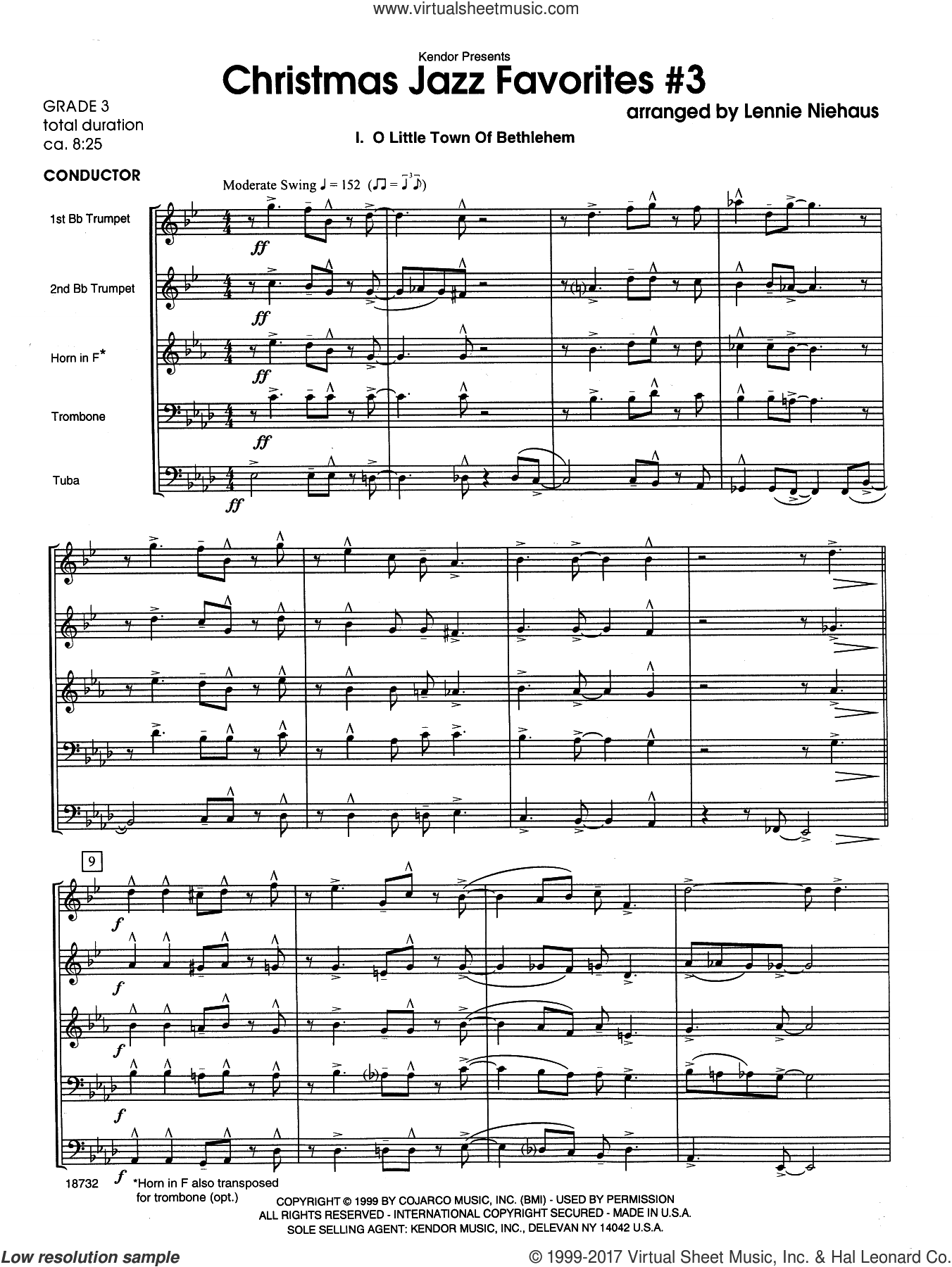 Christmas Jazz Favorites #3 (COMPLETE) sheet music for brass quintet by Lennie Niehaus, intermediate. Score Image Preview.