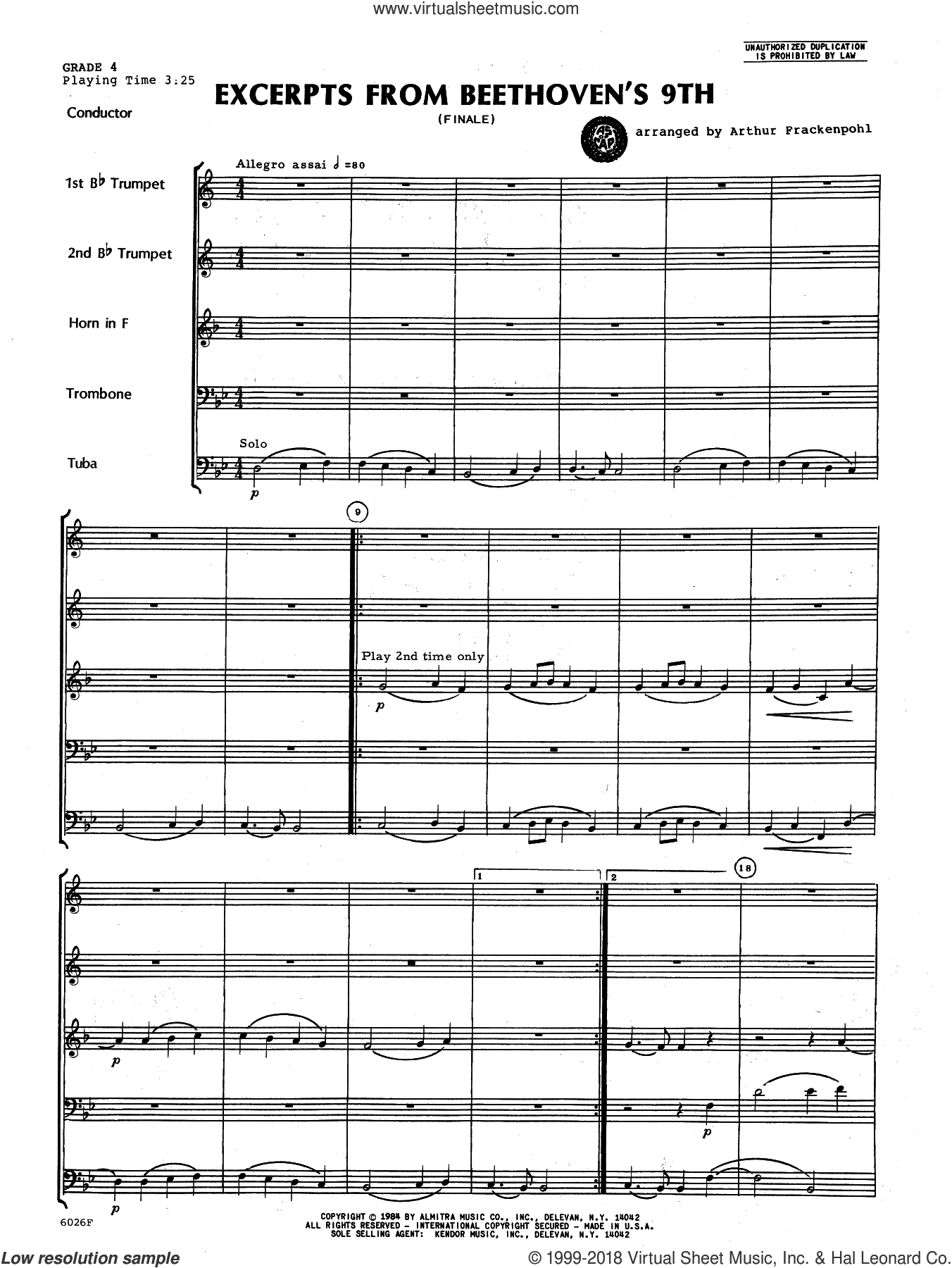 Excerpts From Beethoven's 9th (COMPLETE) sheet music for brass quintet by Ludwig van Beethoven and Arthur Frackenpohl, classical score, intermediate skill level
