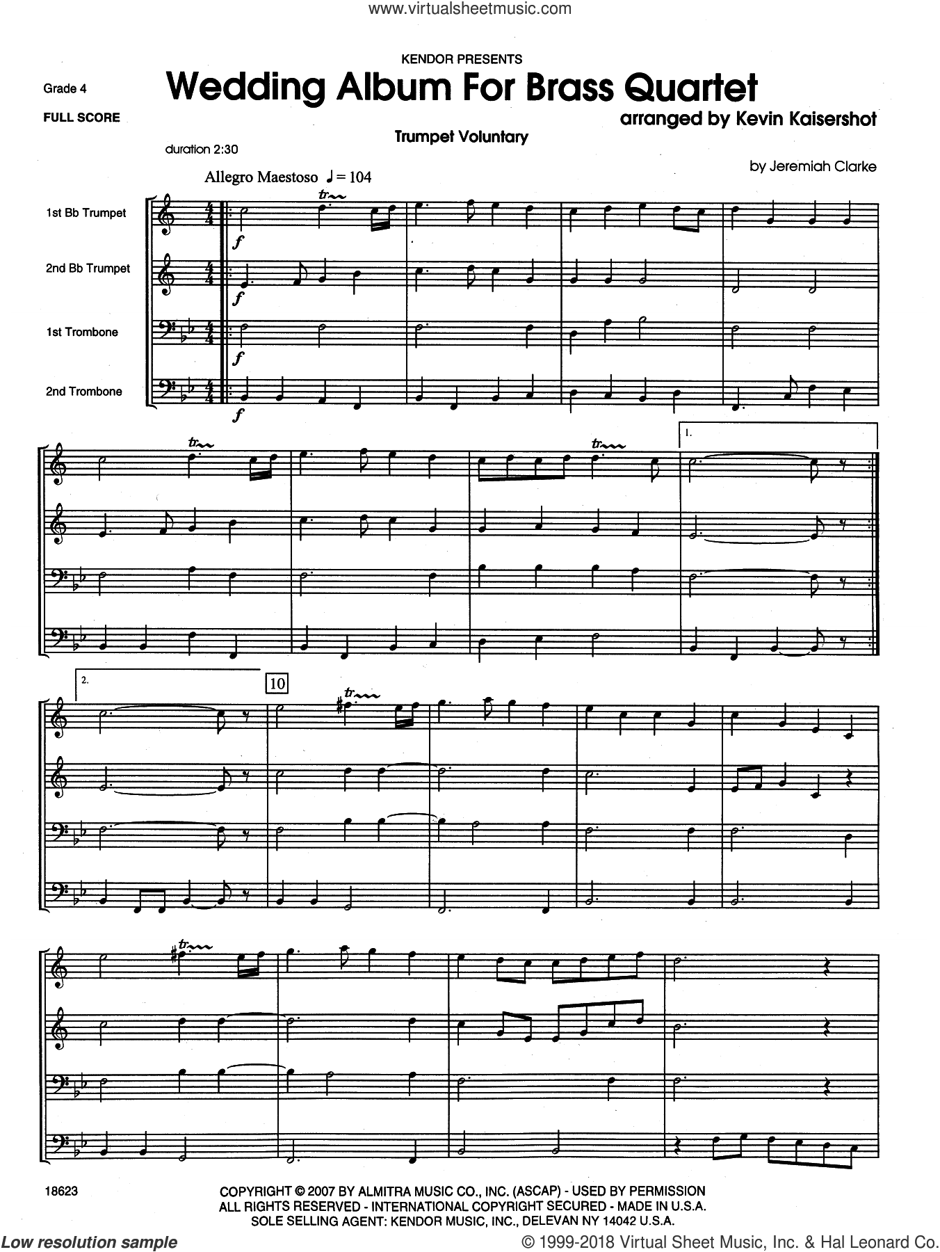 Wedding Album For Brass Quartet (COMPLETE) sheet music for brass quintet by Kevin Kaisershot, wedding score, intermediate skill level