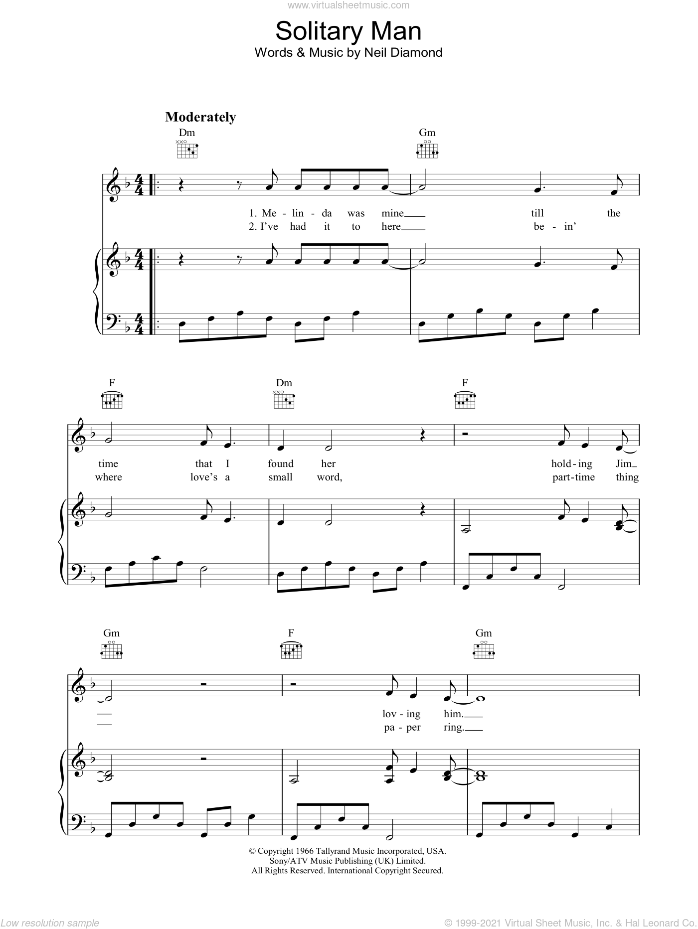 Solitary Man sheet music for voice, piano or guitar by Neil Diamond. Score Image Preview.