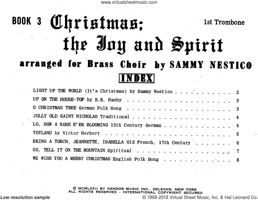 Christmas; The Joy and Spirit - Book 3/1st Trombone sheet music for brass ensemble by Sammy Nestico, intermediate skill level