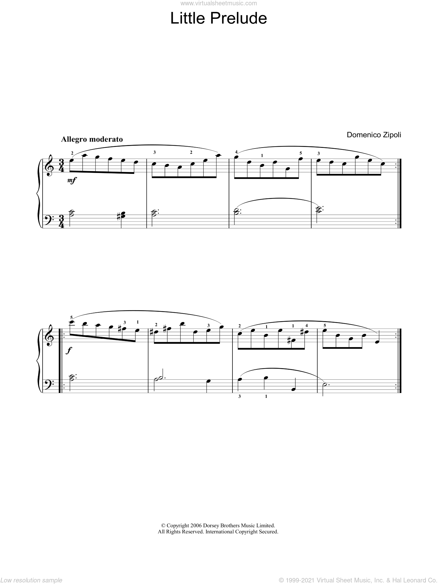 Little Prelude sheet music for voice, piano or guitar by Domenico Zipoli