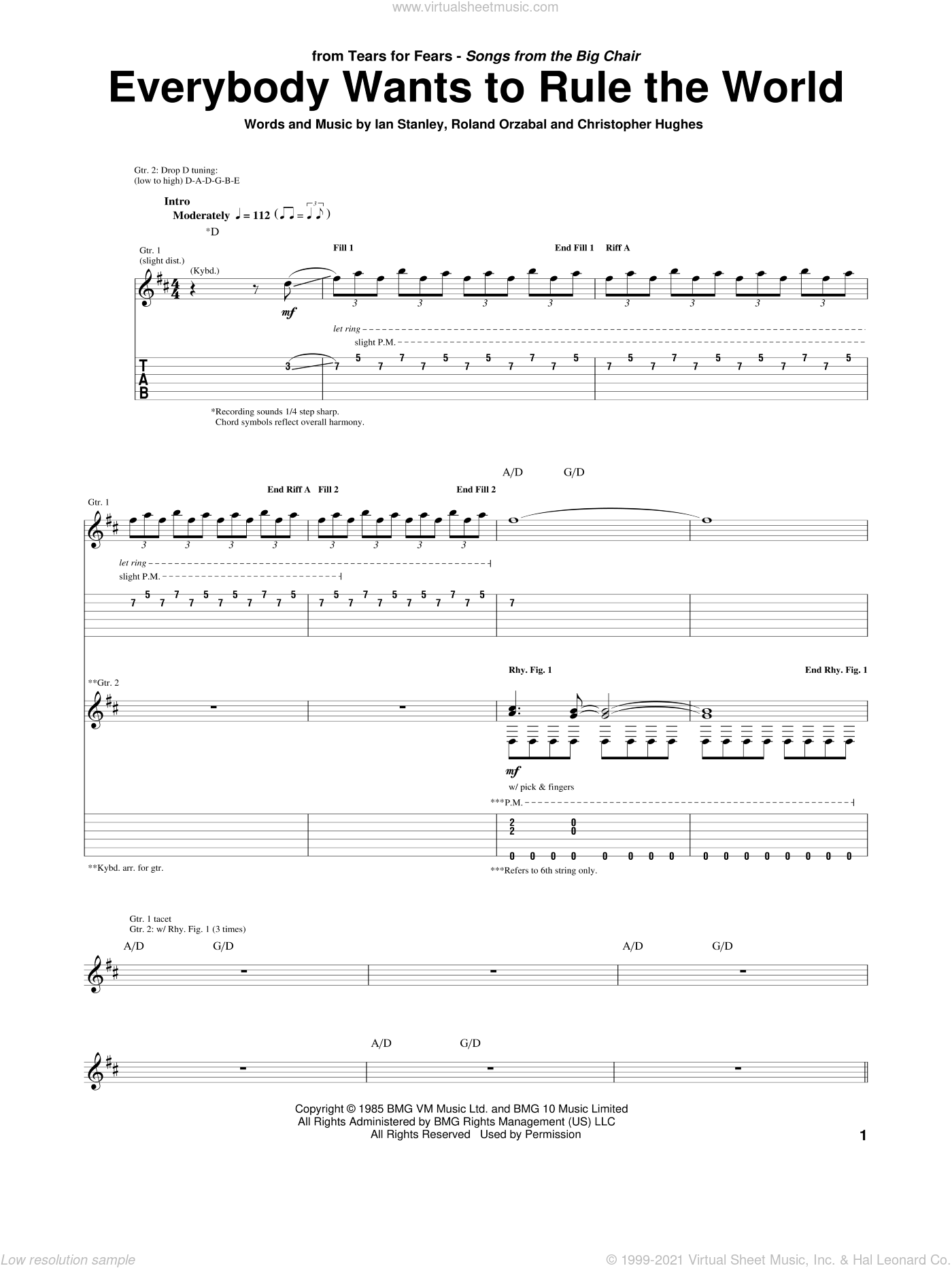 Everybody Wants To Rule The World sheet music for guitar (tablature) by Tears For Fears, Christopher Hughes, Ian Stanley and Roland Orzabal, intermediate
