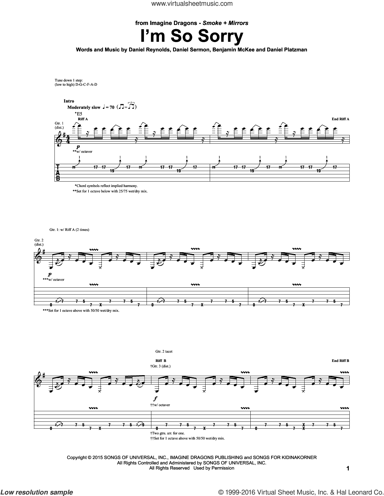 I'm So Sorry sheet music for guitar (tablature) by Imagine Dragons, intermediate. Score Image Preview.