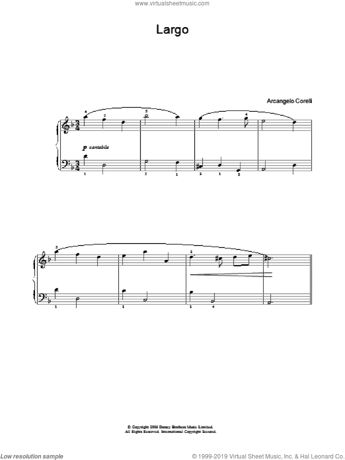 Largo sheet music for voice, piano or guitar by Arcangelo Corelli. Score Image Preview.