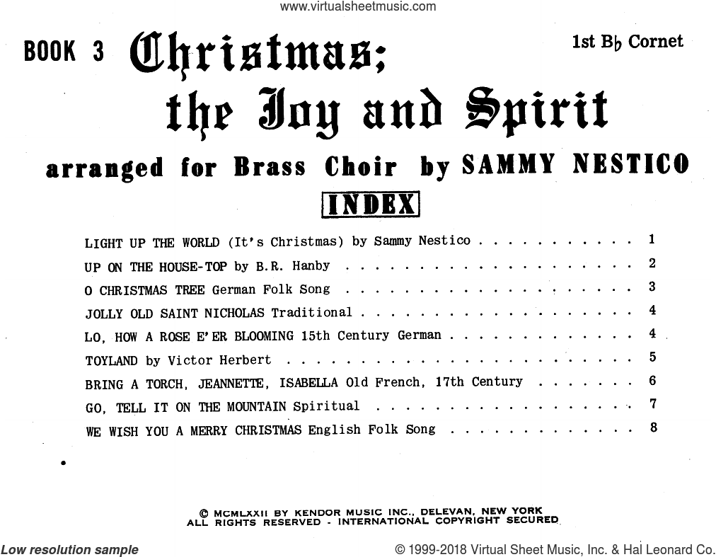 Christmas The Joy and Spirit - Book 3 - 1st Bb Cornet sheet music for brass ensemble by Sammy Nestico. Score Image Preview.