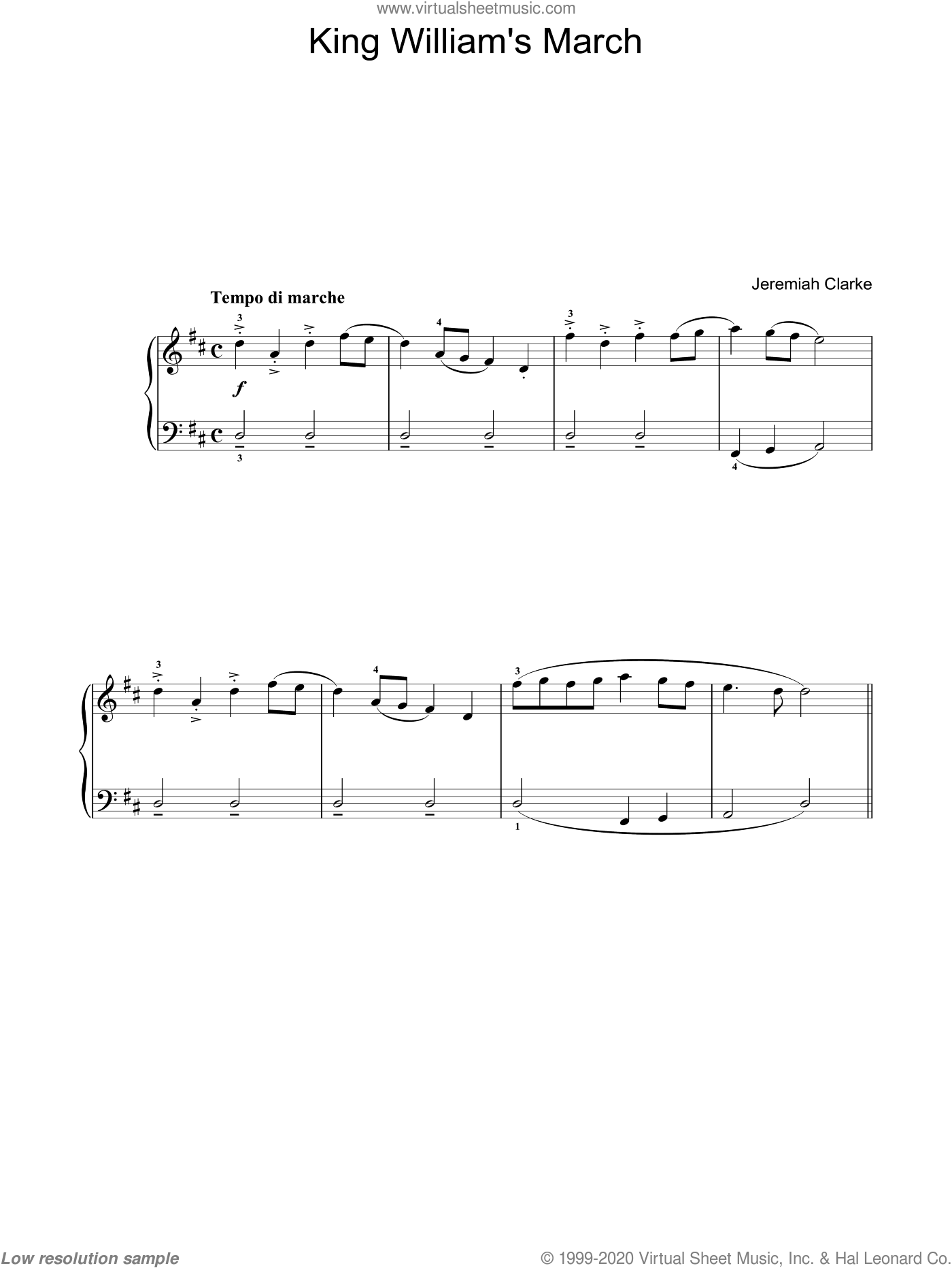 King William's March sheet music for voice, piano or guitar by Jeremiah Clarke, classical score, intermediate. Score Image Preview.