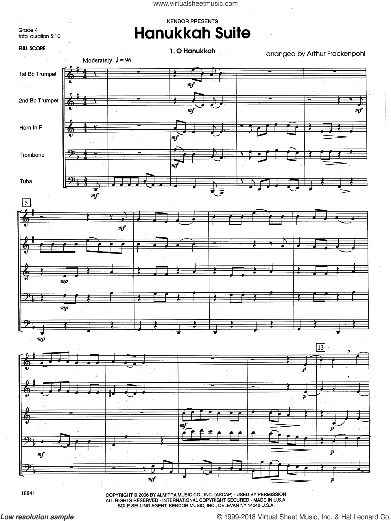 Hanukkah Suite (COMPLETE) sheet music for brass quintet by Arthur Frackenpohl, intermediate. Score Image Preview.