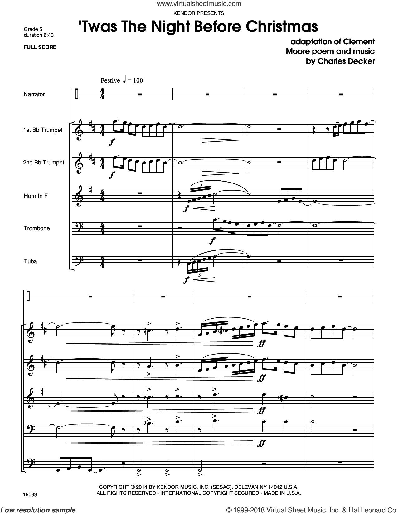 Twas The Night Before Christmas (COMPLETE) sheet music for brass quintet by Charles Decker, intermediate. Score Image Preview.