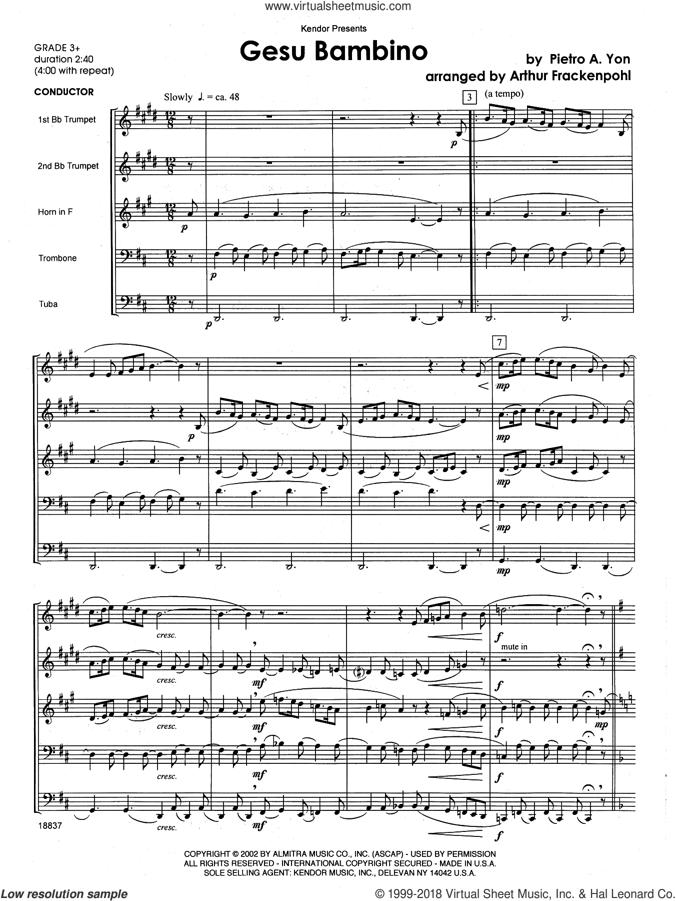 Gesu Bambino (COMPLETE) sheet music for brass quintet by Arthur Frackenpohl and Yon, intermediate skill level