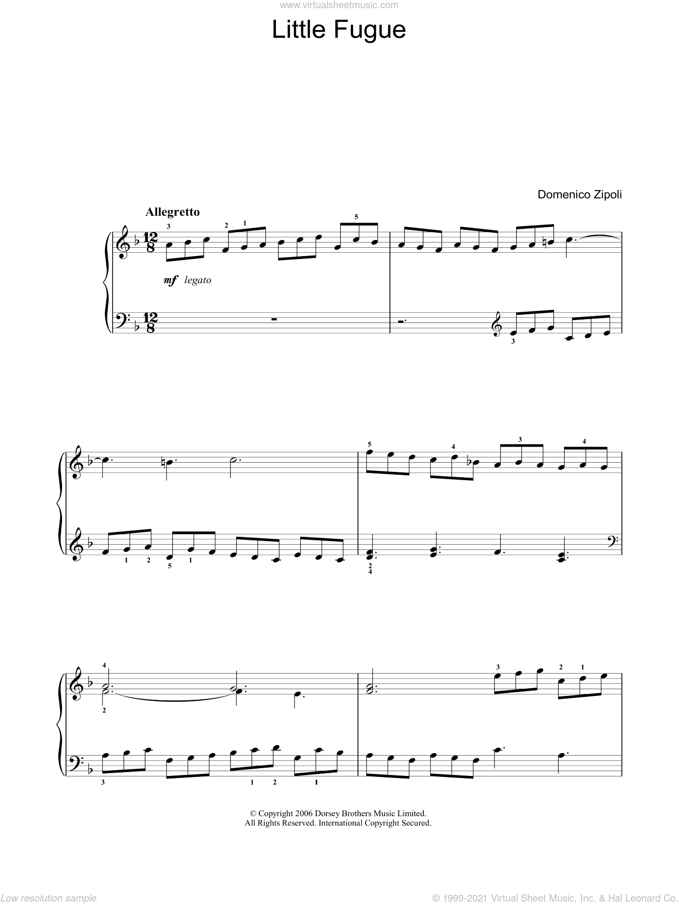 Little Fugue sheet music for voice, piano or guitar by Domenico Zipoli