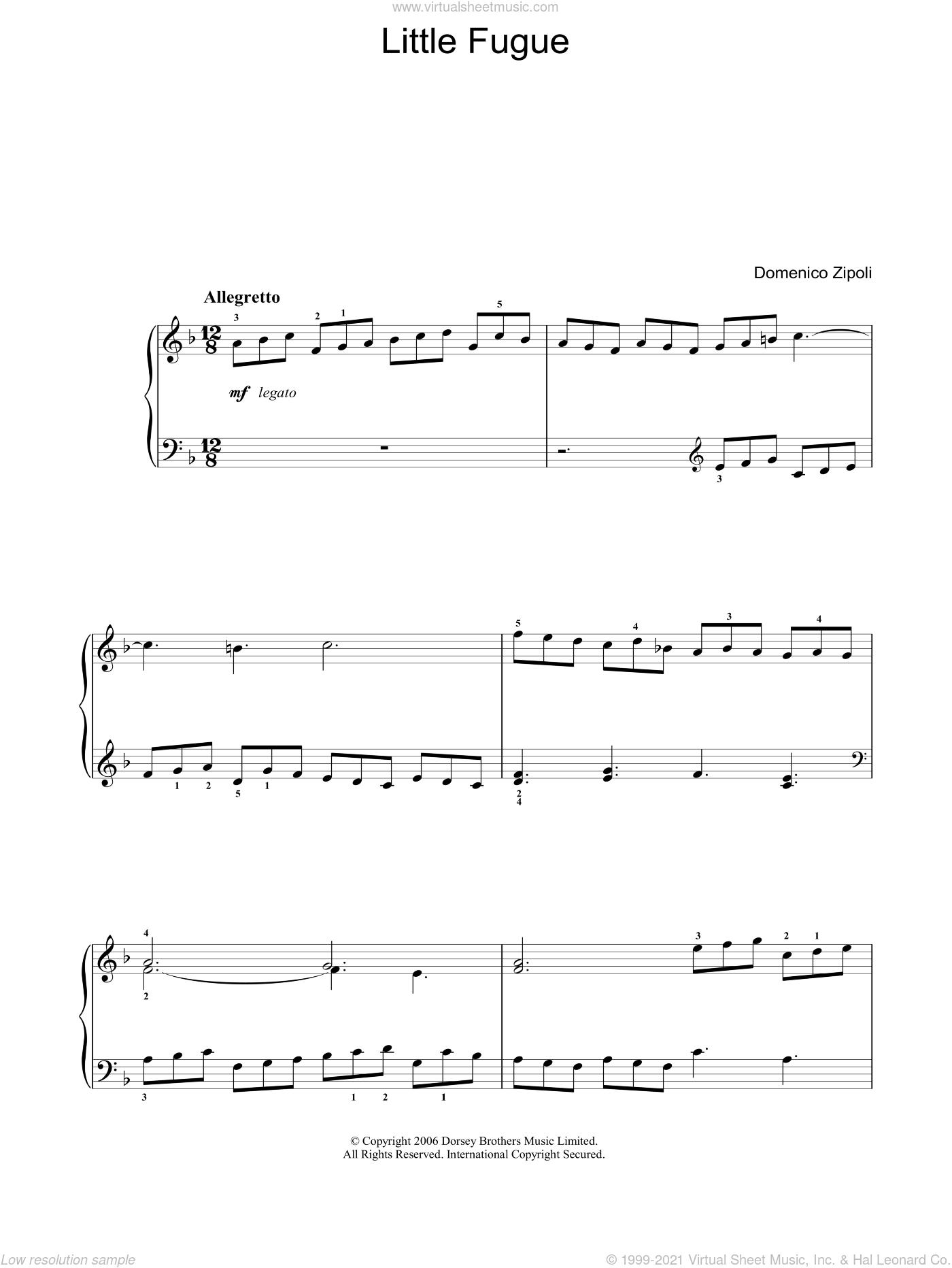 Little Fugue sheet music for voice, piano or guitar by Domenico Zipoli, classical score, intermediate skill level