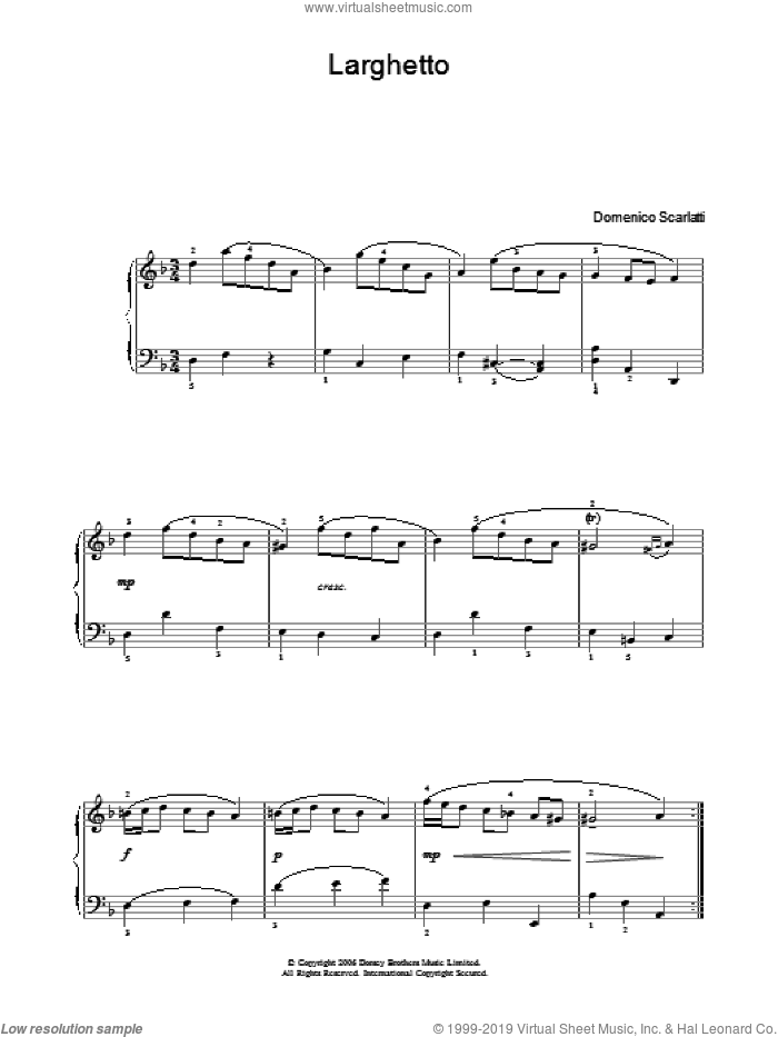 Larghetto sheet music for voice, piano or guitar by Domenico Scarlatti, classical score, intermediate skill level
