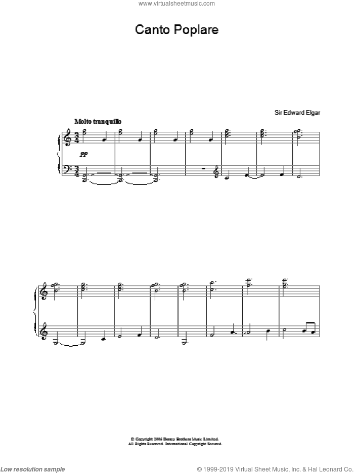 Canto Popolare (from In The South, Op.50) sheet music for voice, piano or guitar by Edward Elgar. Score Image Preview.
