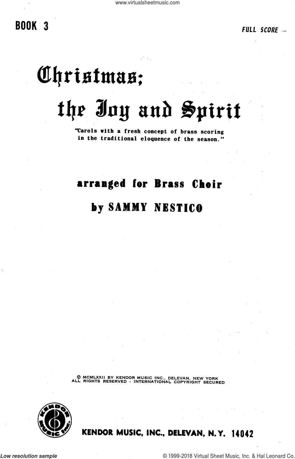 Christmas; The Joy and Spirit- Book 3/Full Score sheet music for brass ensemble by Sammy Nestico. Score Image Preview.