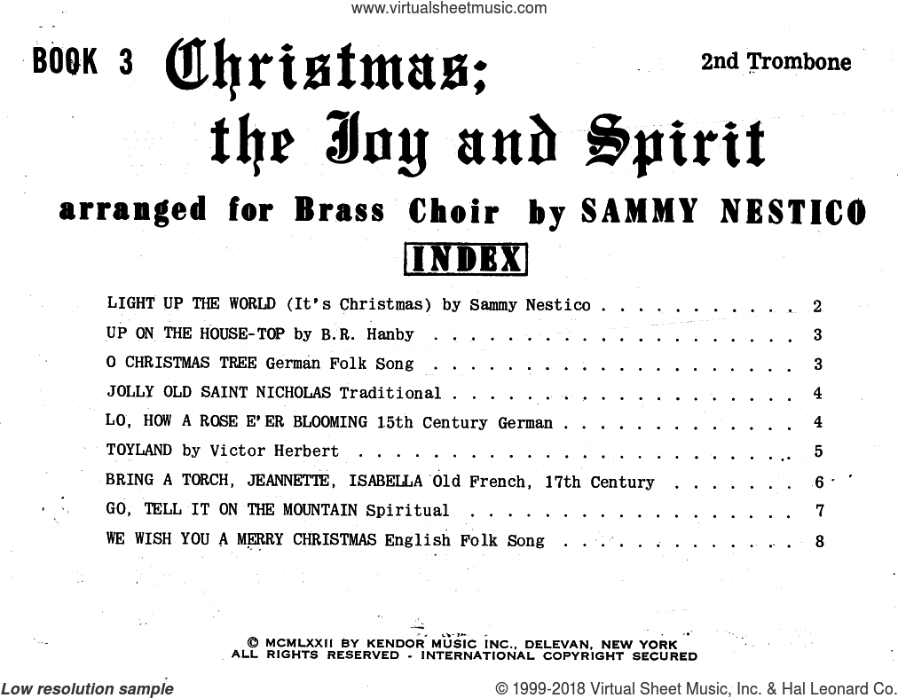 Christmas; The Joy and Spirit - Book 3/2nd Trombone sheet music for brass ensemble by Sammy Nestico, Christmas carol score, intermediate brass ensemble. Score Image Preview.