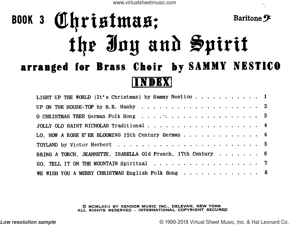 Christmas; The Joy and Spirit - Book 3/Baritone BC sheet music for brass ensemble by Sammy Nestico. Score Image Preview.