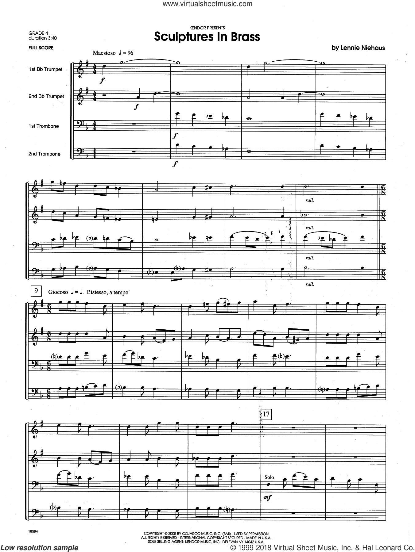 Sculptures In Brass (COMPLETE) sheet music for brass quartet by Lennie Niehaus, intermediate skill level