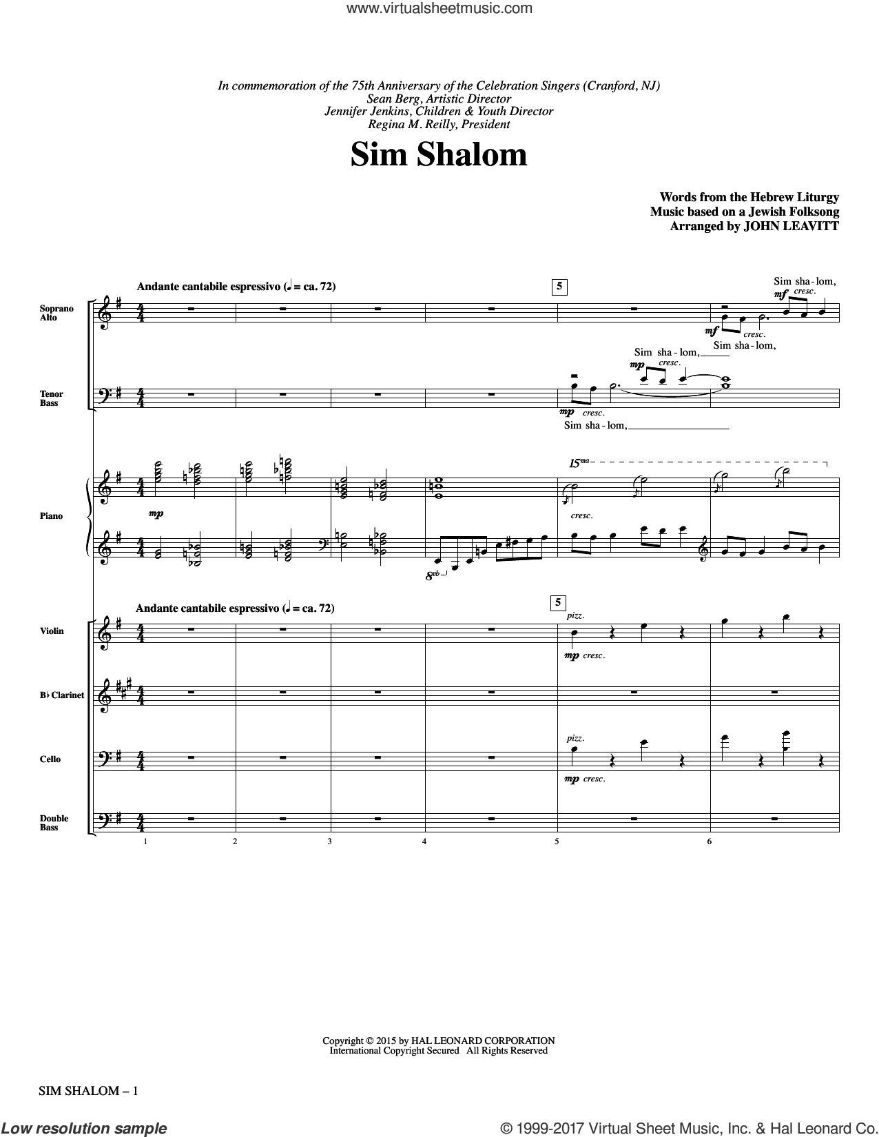 Sim Shalom (COMPLETE) sheet music for orchestra/band by John Leavitt and Jewish Folksong, intermediate. Score Image Preview.