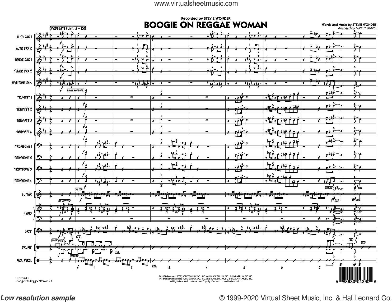 Boogie On Reggae Woman (COMPLETE) sheet music for jazz band by Stevie Wonder and Mike Tomaro, intermediate skill level