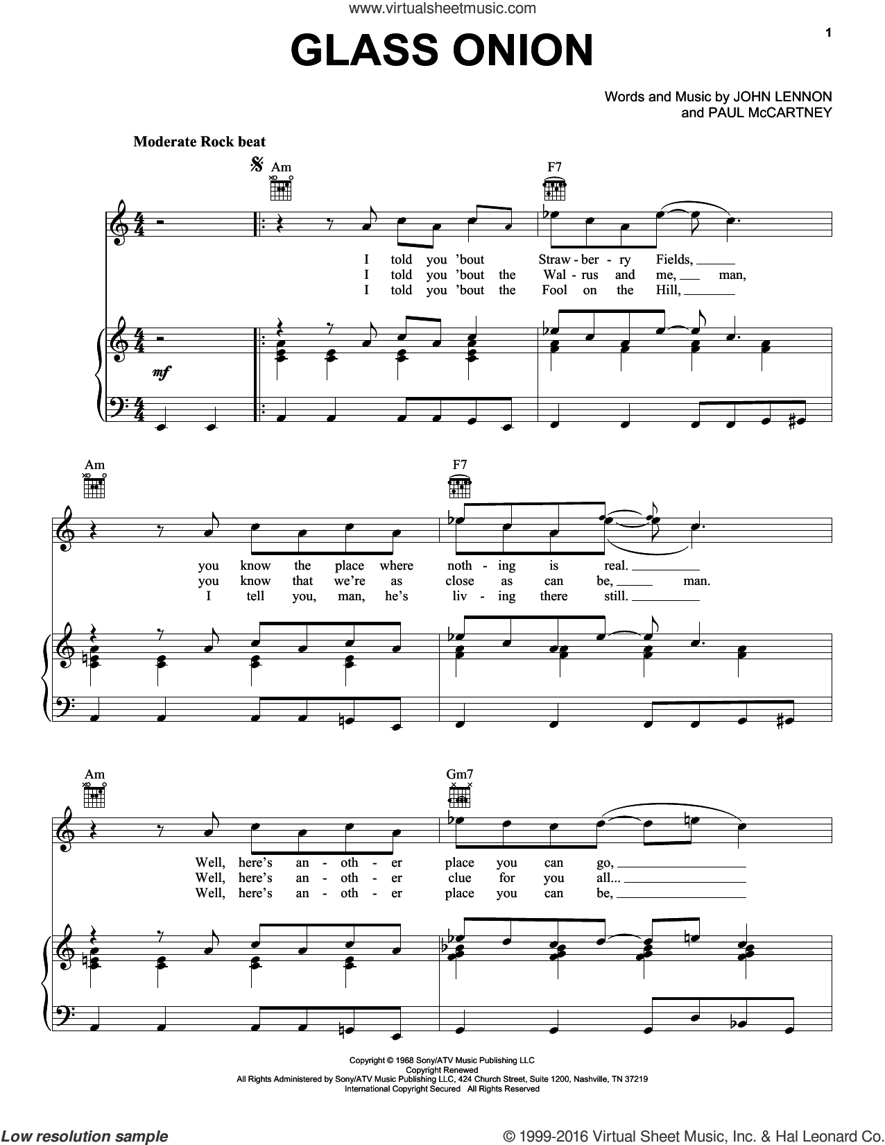 Glass Onion sheet music for voice, piano or guitar by The Beatles, John Lennon and Paul McCartney, intermediate