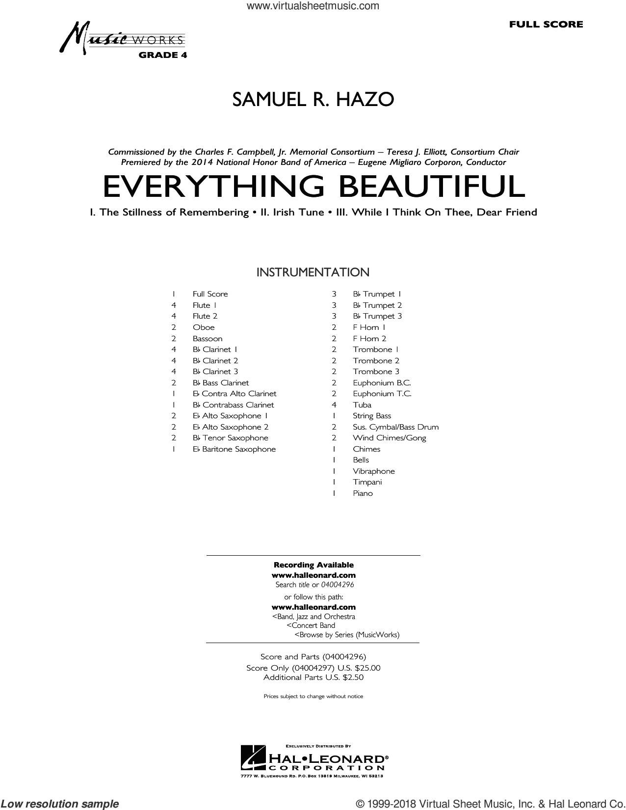 Everything Beautiful (COMPLETE) sheet music for concert band by Samuel R. Hazo, intermediate skill level