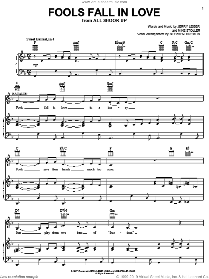 Fools Fall In Love sheet music for voice, piano or guitar by Elvis Presley, All Shook Up (Musical), Jerry Leiber and Mike Stoller, intermediate skill level