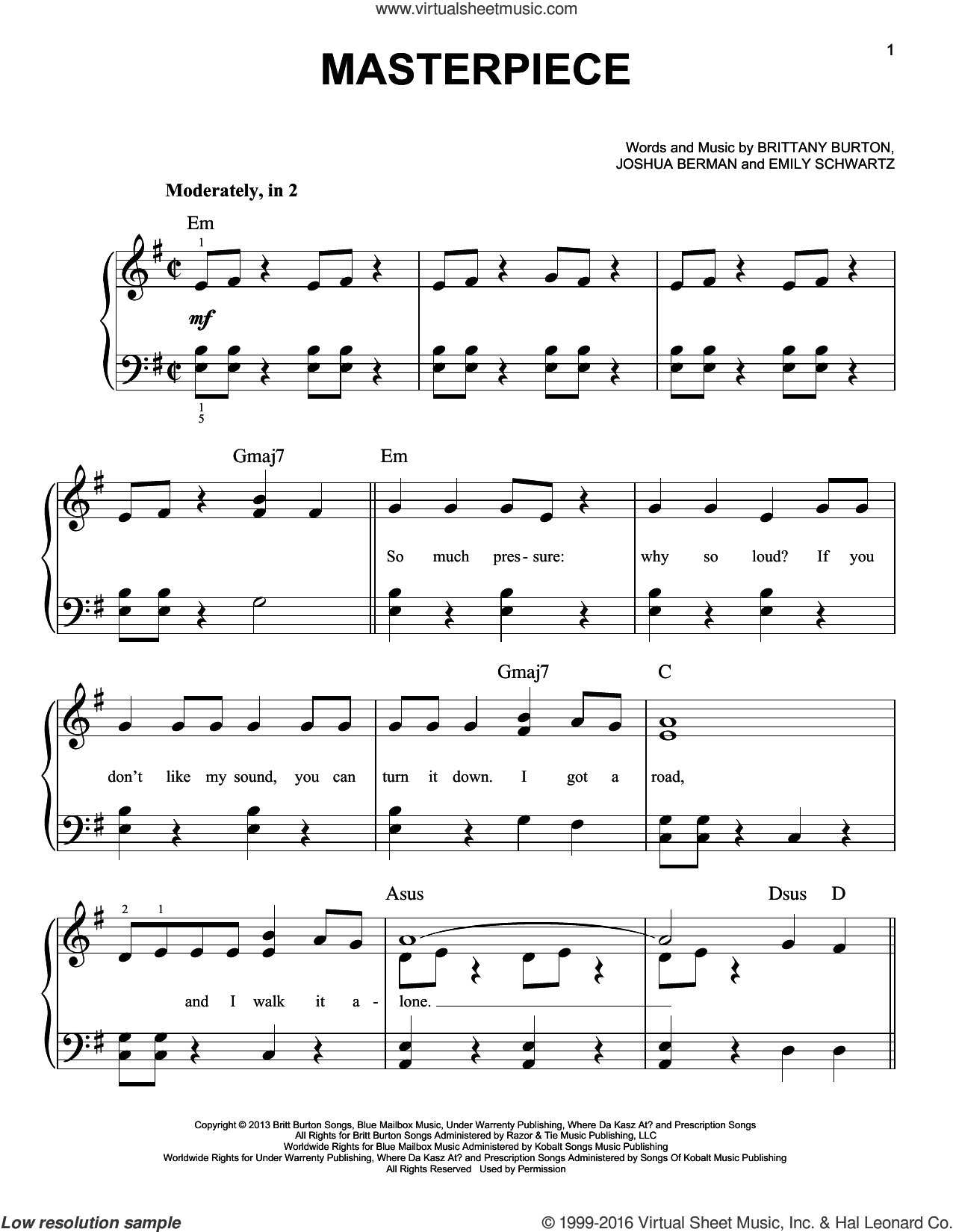 Masterpiece sheet music for piano solo by Jessie J, Brittany Burton, Emily Schwartz and Joshua Berman, easy skill level
