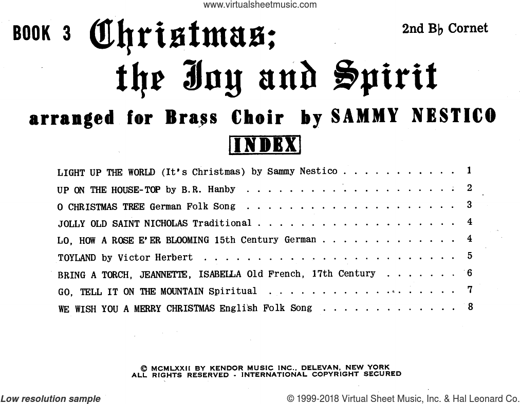 Christmas; The Joy and Spirit - Book 3/2nd Cornet sheet music for brass quintet by Sammy Nestico. Score Image Preview.