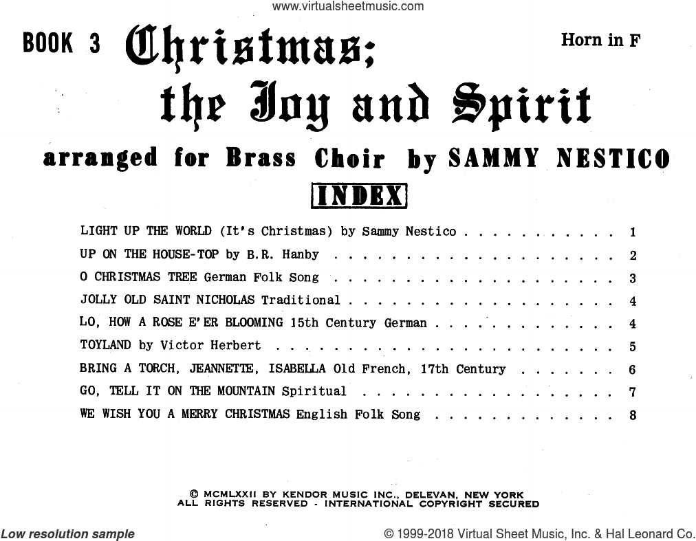 Christmas; The Joy and Spirit - Book 3/Horn in F sheet music for brass quintet by Sammy Nestico. Score Image Preview.