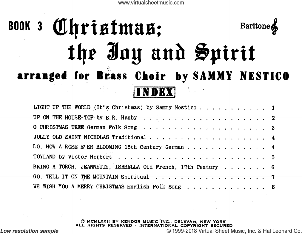 Christmas; The Joy and Spirit - Book 3/Baritone TC sheet music for brass quintet by Sammy Nestico, intermediate. Score Image Preview.