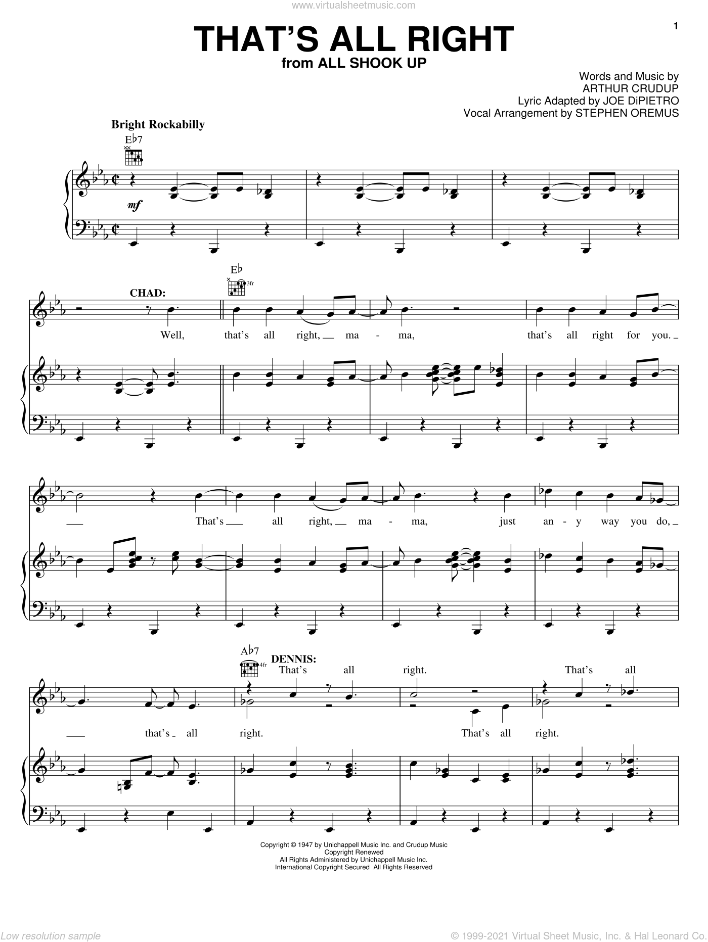 That's All Right sheet music for voice, piano or guitar by Arthur Crudup