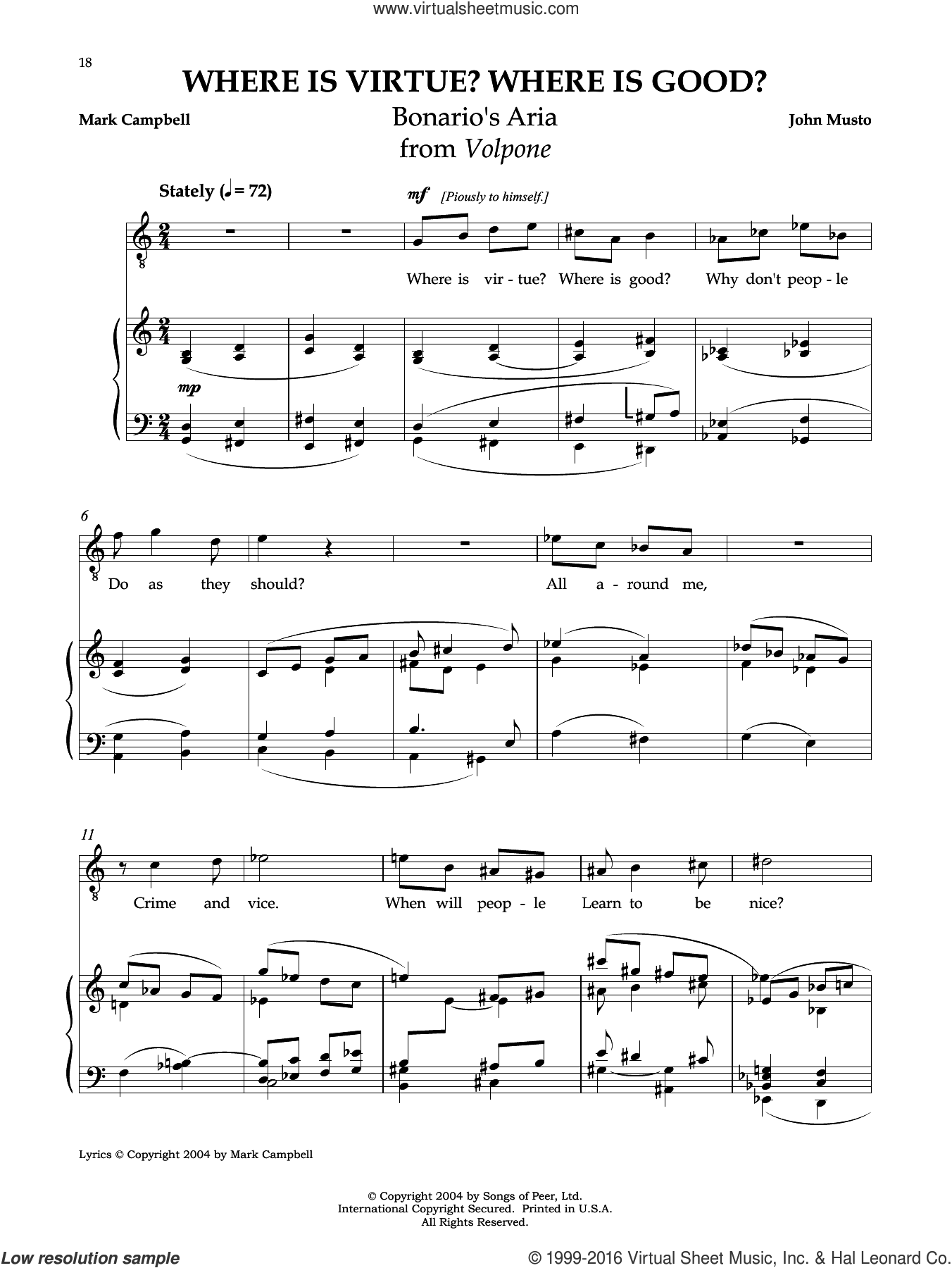 Where Is Virtue? Where Is Good? sheet music for voice and piano by Mark Campbell and John Musto. Score Image Preview.