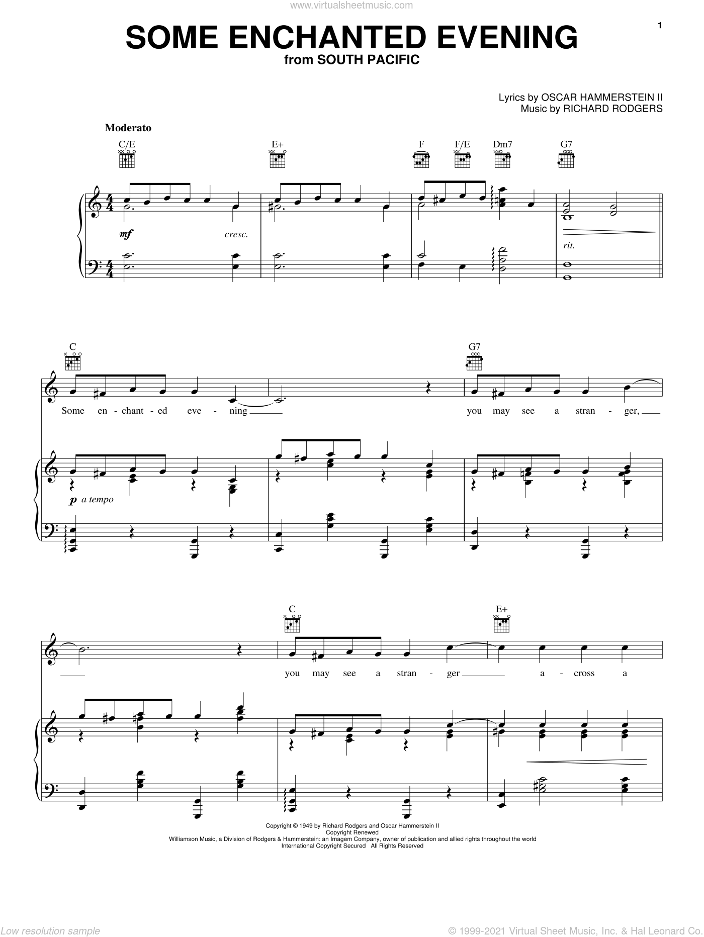 Some Enchanted Evening sheet music for voice, piano or guitar by Rodgers & Hammerstein, South Pacific (Musical), Oscar II Hammerstein and Richard Rodgers, intermediate skill level