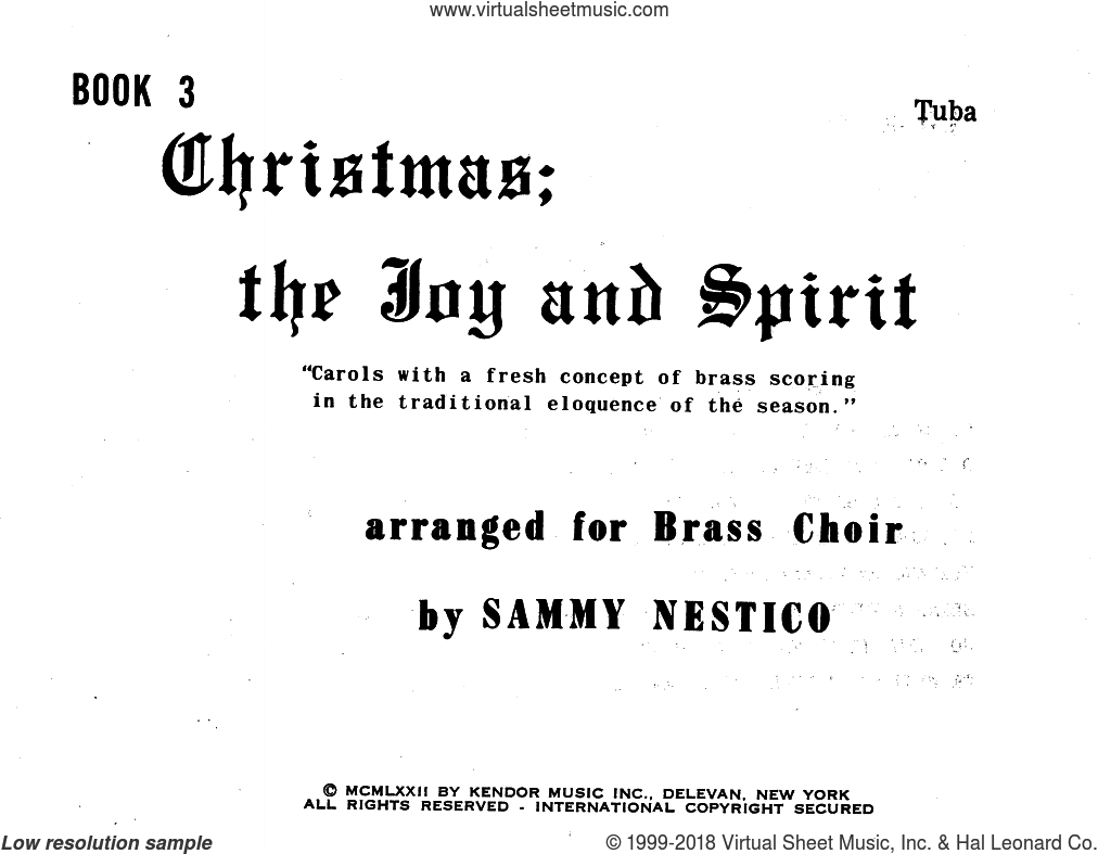 Christmas; The Joy and Spirit- Book 3/Tuba sheet music for brass ensemble by Sammy Nestico, intermediate skill level