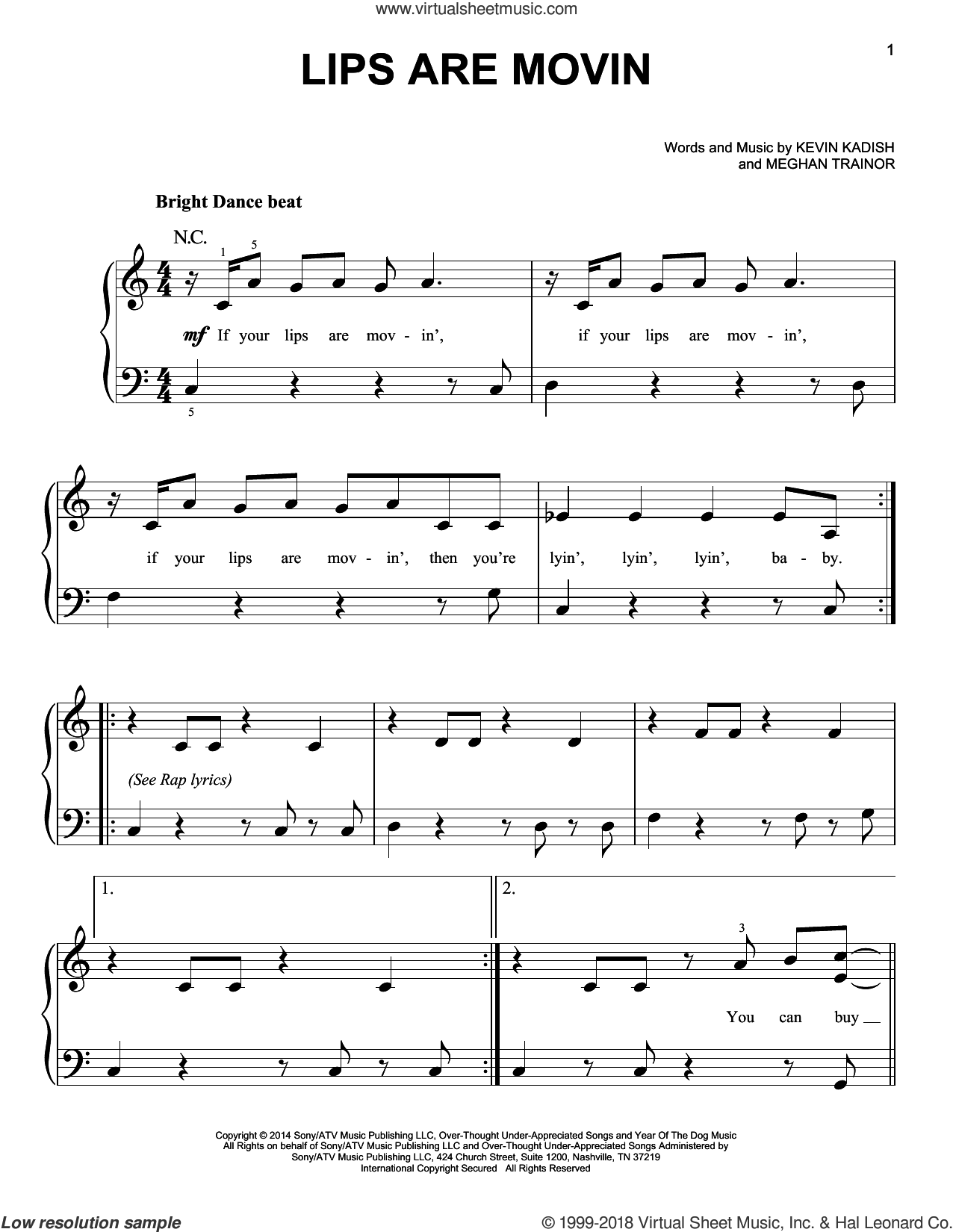 Lips Are Movin sheet music for piano solo by Meghan Trainor and Kevin Kadish, easy skill level