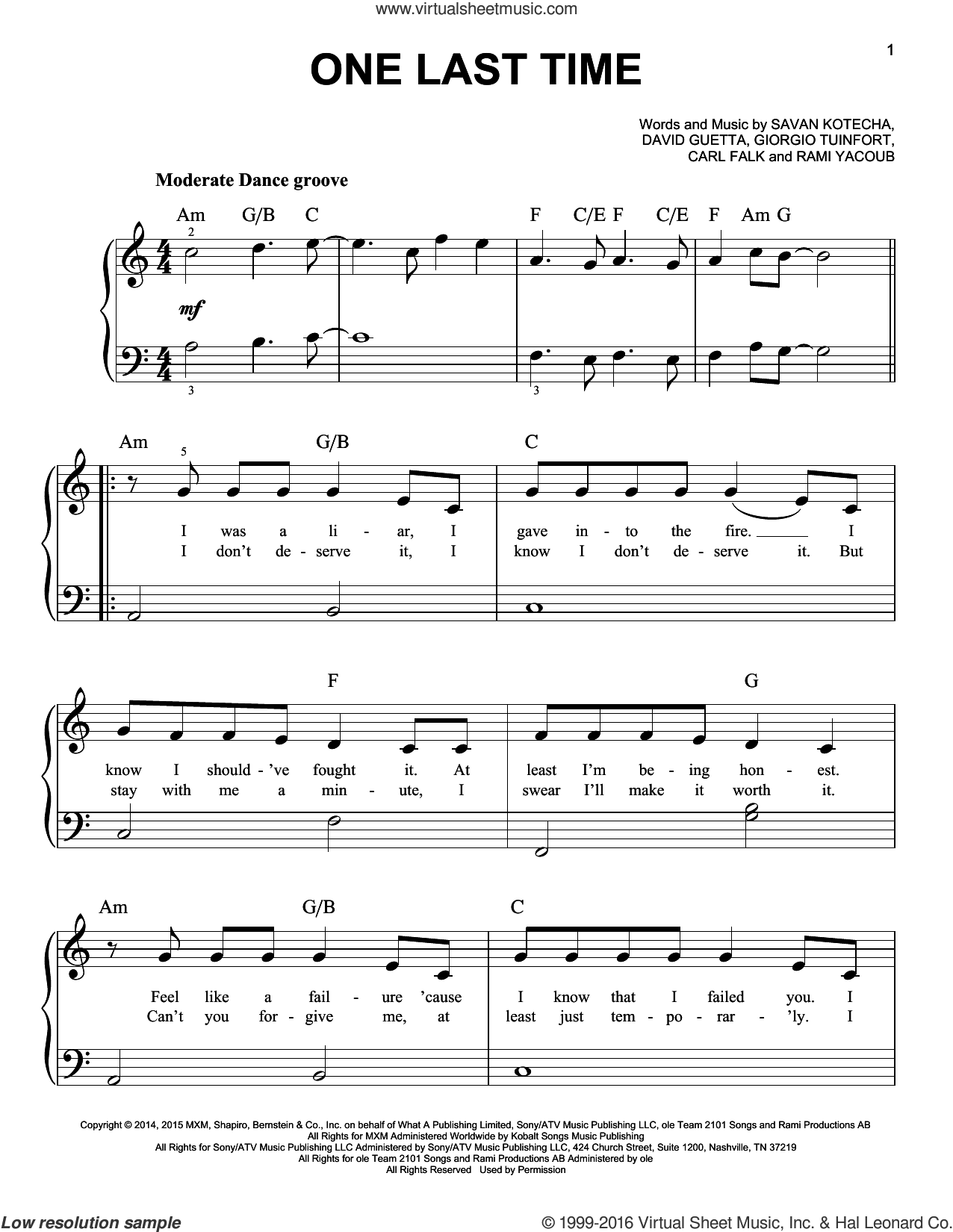 One Last Time sheet music for piano solo by Ariana Grande, Carl Falk, David Guetta, Giorgio Tuinfort, Rami and Savan Kotecha, easy skill level