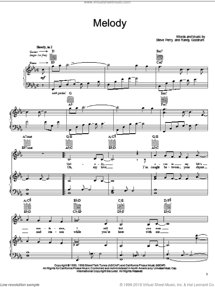 Melody sheet music for voice, piano or guitar by Steve Perry and Randy Goodrum, intermediate. Score Image Preview.