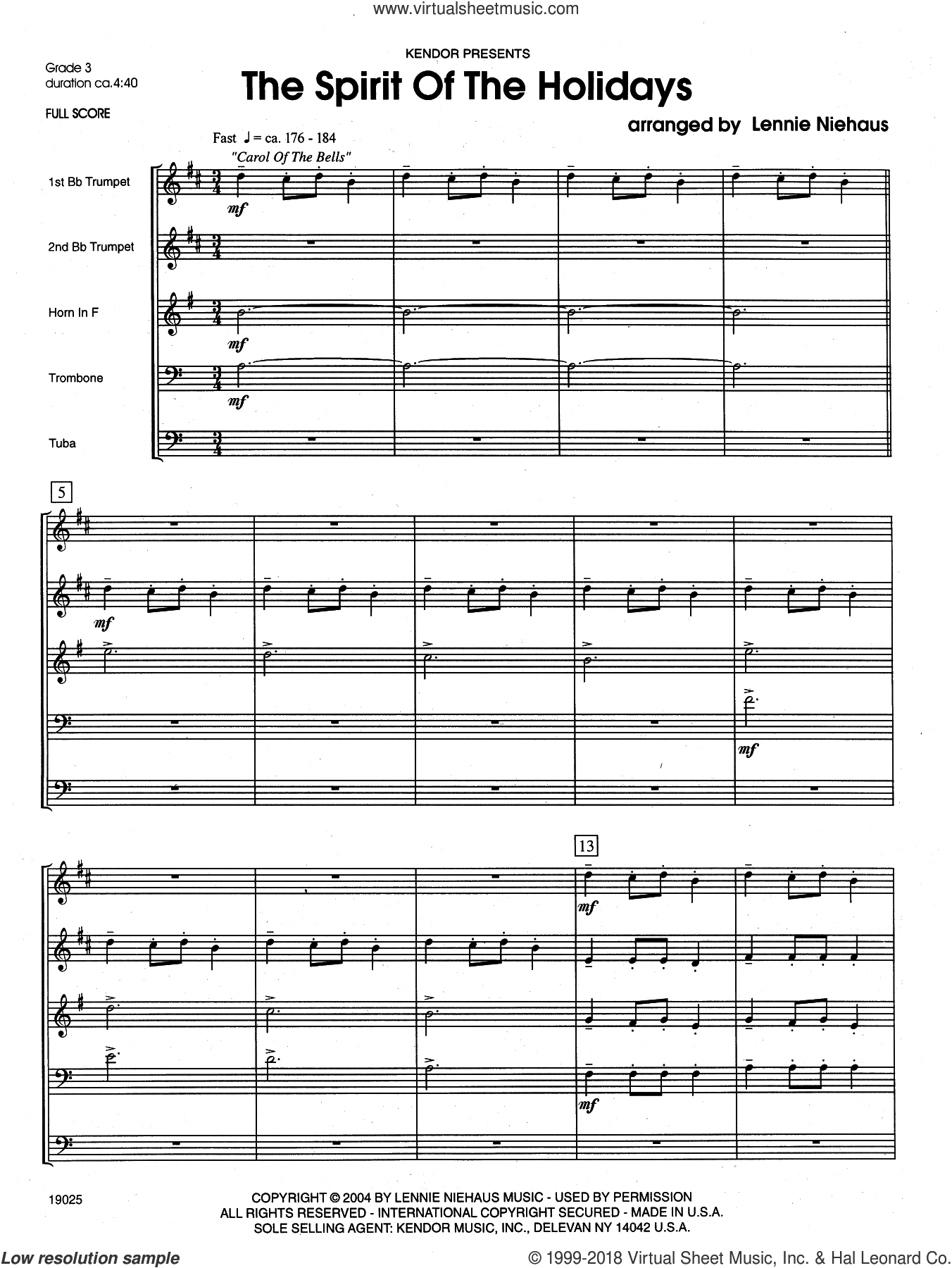 The Spirit Of The Holidays (COMPLETE) sheet music for brass quintet by Lennie Niehaus, Christmas carol score, intermediate brass quintet. Score Image Preview.