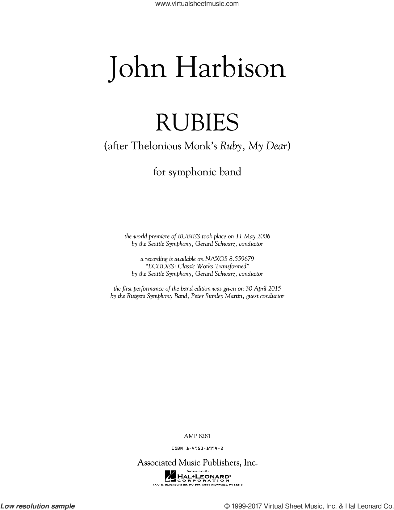 Rubies (After Thelonious Monk's 'Ruby, My Dear') (COMPLETE) sheet music for concert band by Thelonious Monk, John Harbison and Peter Stanley Martin, intermediate skill level