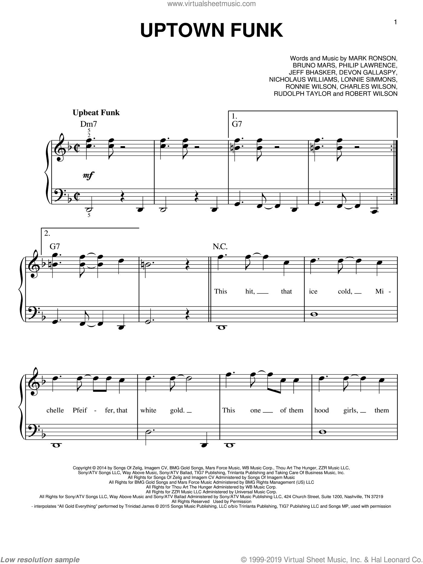 Uptown Funk (feat. Bruno Mars) sheet music for piano solo by Mark Ronson, Mark Ronson ft. Bruno Mars, Bruno Mars, Charles Wilson, Devon Gallaspy, Jeff Bhasker, Lonnie Simmons, Nicholaus Williams, Philip Lawrence, Robert Wilson, Ronnie Wilson and Rudolph Taylor, easy skill level