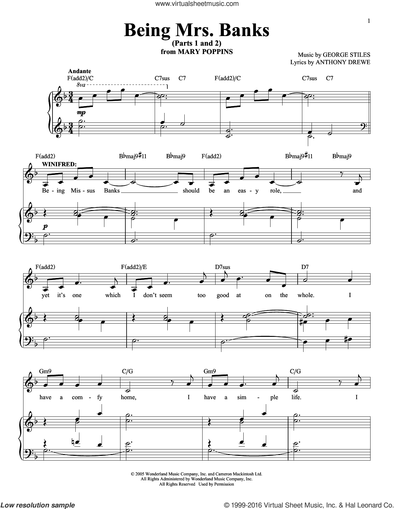Being Mrs. Banks (Parts 1 and 2) sheet music for voice and piano by George Stiles and Anthony Drewe. Score Image Preview.