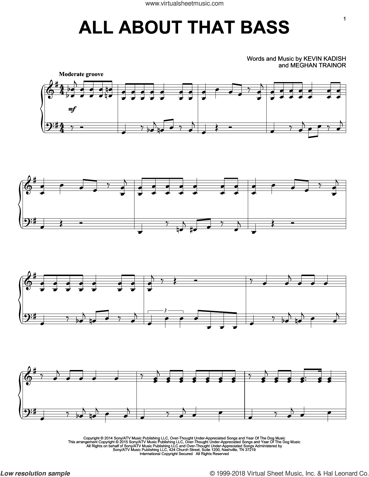 All About That Bass sheet music for piano solo by Meghan Trainor and Kevin Kadish, intermediate piano. Score Image Preview.