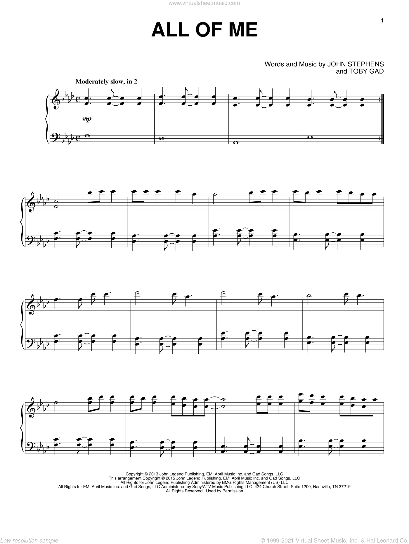 All Of Me, (intermediate) sheet music for piano solo by John Legend, John Stephens and Toby Gad, wedding score, intermediate