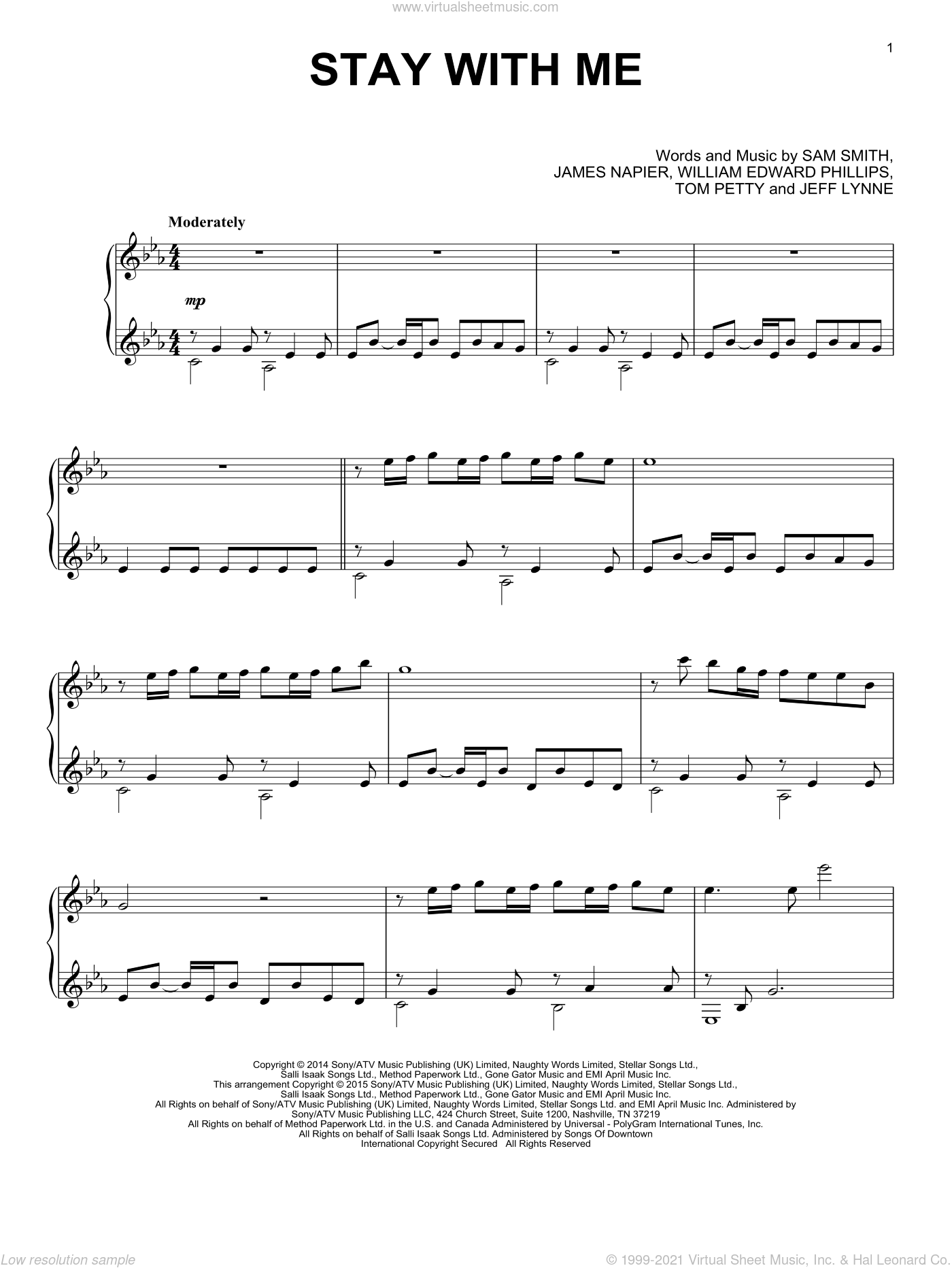 Stay With Me sheet music for piano solo by Sam Smith, James Napier, Jeff Lynne, Tom Petty and William Edward Phillips, intermediate skill level