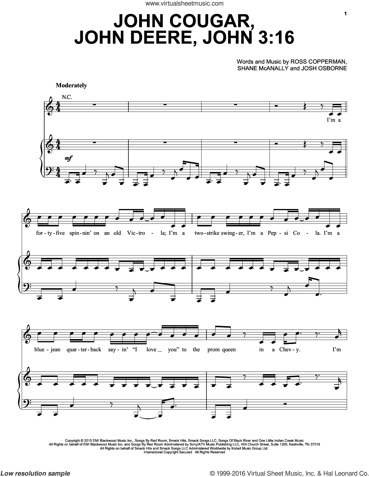John Cougar, John Deere, John 3:16 sheet music for voice, piano or guitar by Keith Urban, Josh Osborne, Ross Copperman and Shane McAnally, intermediate skill level