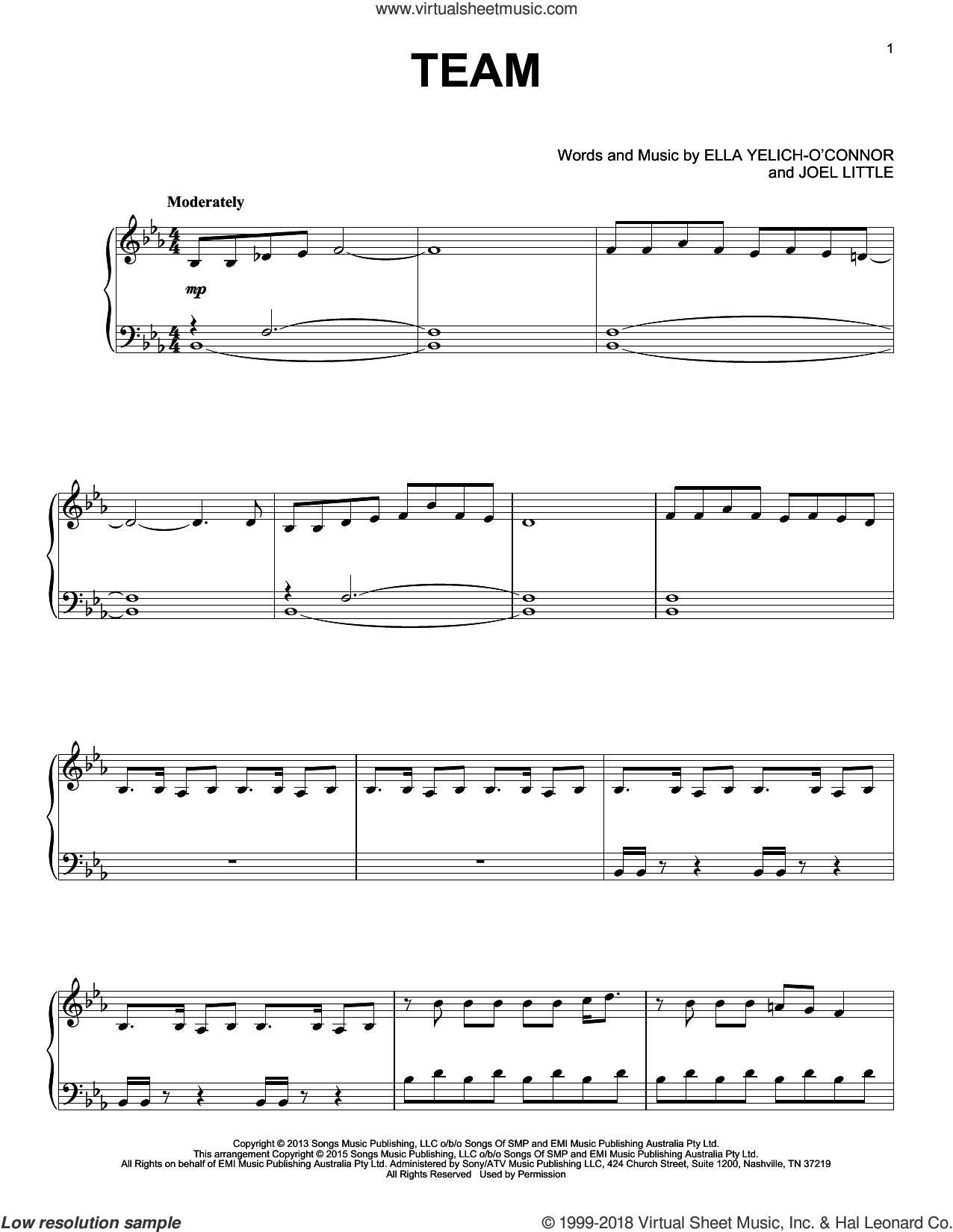 Team sheet music for piano solo by Lorde and Joel Little, intermediate skill level