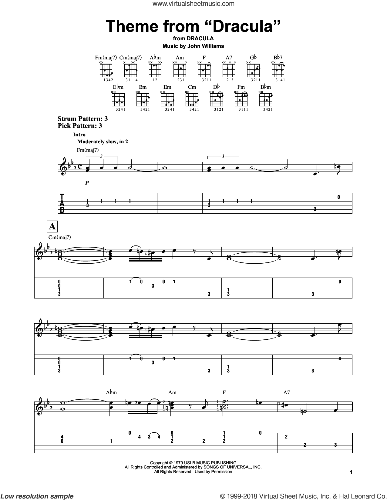 Theme from 'Dracula' sheet music for guitar solo (easy tablature) by John Williams, easy guitar (easy tablature)